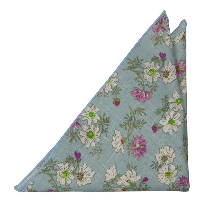 Bomull Lommetørkler, Hvite & lilla blomster på turkis