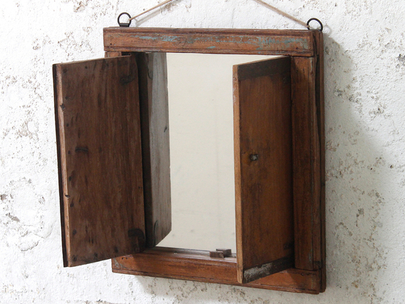 Upcycled Shuttered Window Mirror Brown Medium