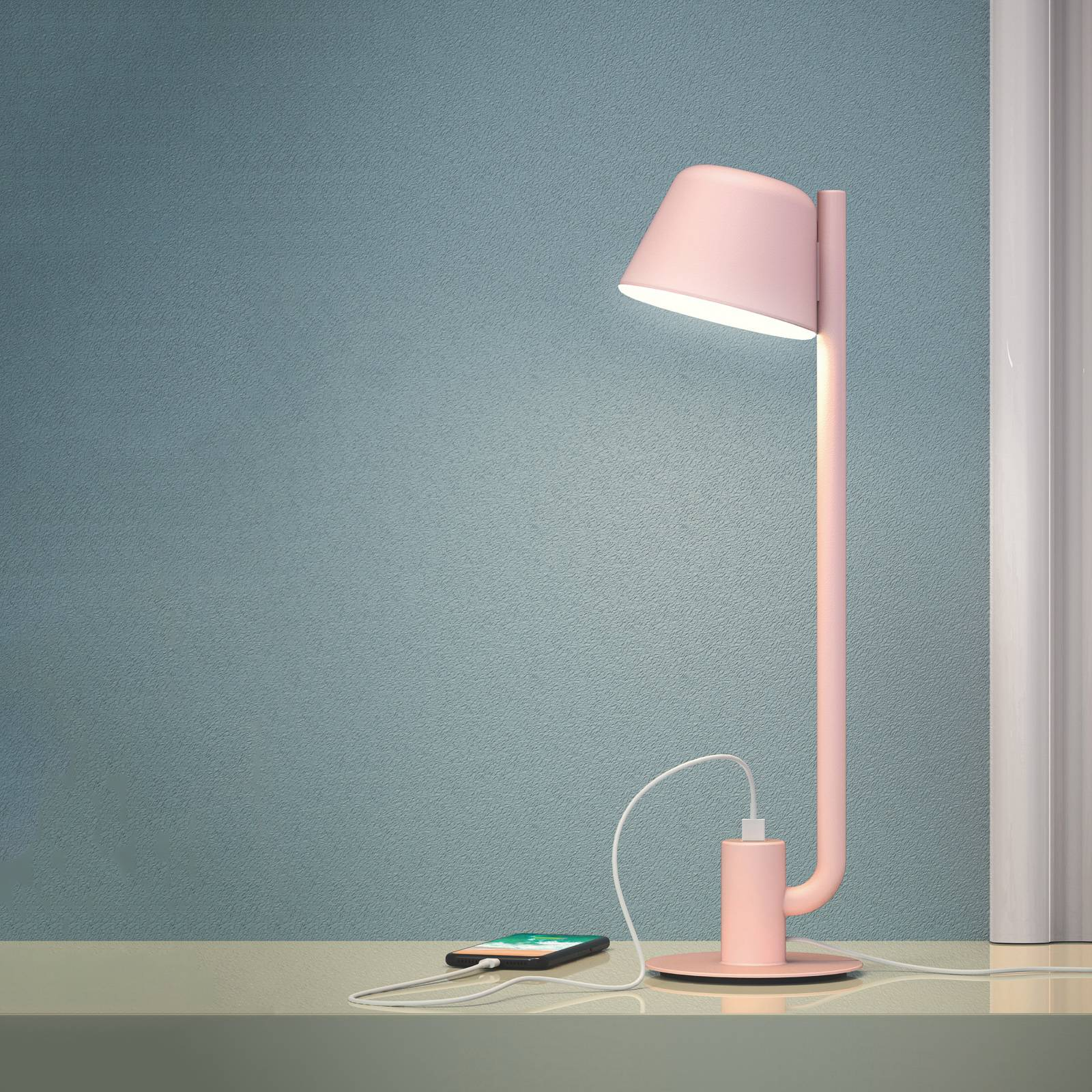 Prandina Bima T1 USB -LED-pöytälamppu, roosa