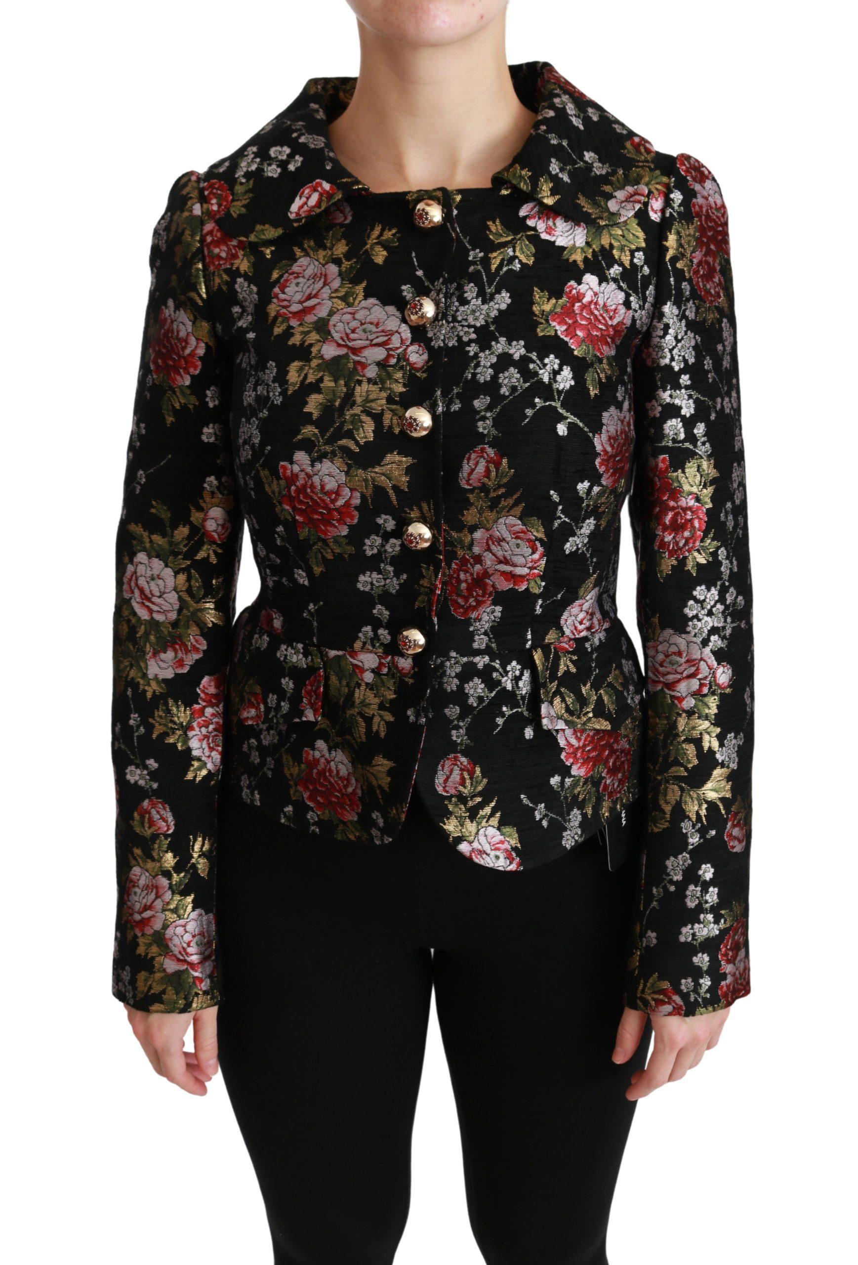 Dolce & Gabbana Women's Floral Brocade Jacket Black JKT2523 - IT40|S