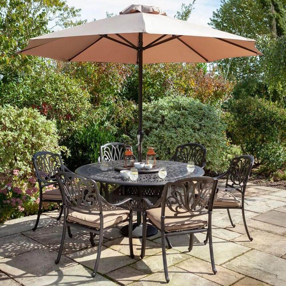 2021 Hartman Amalfi 6 Seat Round Dining Table Set - Bronze/Amber