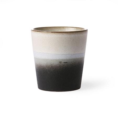 70's Keramik Mugg Svart och Vit 20 cl