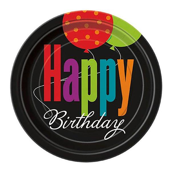 Pappersassietter Happy Birthday - 8-pack