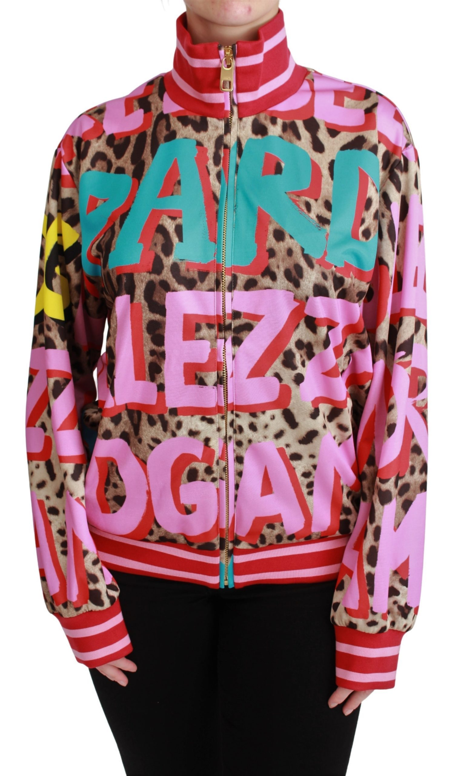 Dolce & Gabbana Women's Zipper Leopard Cardigan Multicolor PAN71034 - IT48 XXL