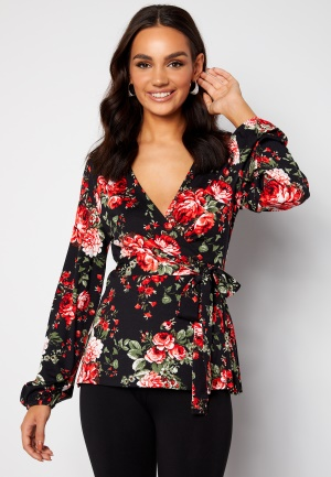 Happy Holly Amanda puff sleeve wrap top Black / Patterned 32/34