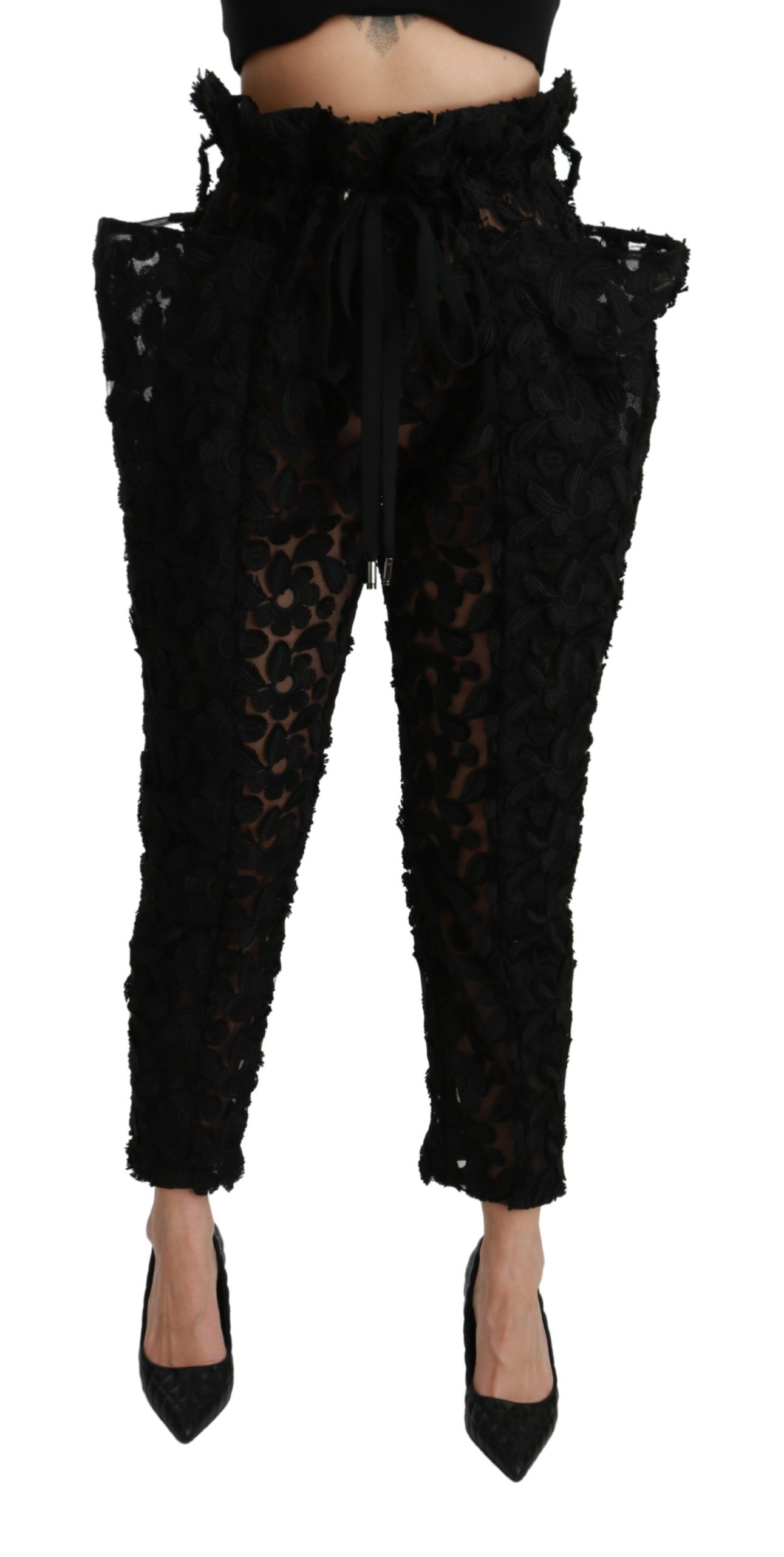 Dolce & Gabbana Women's Floral Lace Tapered High Waist Trouser Black PAN70946 - IT40|S