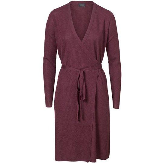 Omlottklänning Ull Burgundy Stl L - 68% rabatt