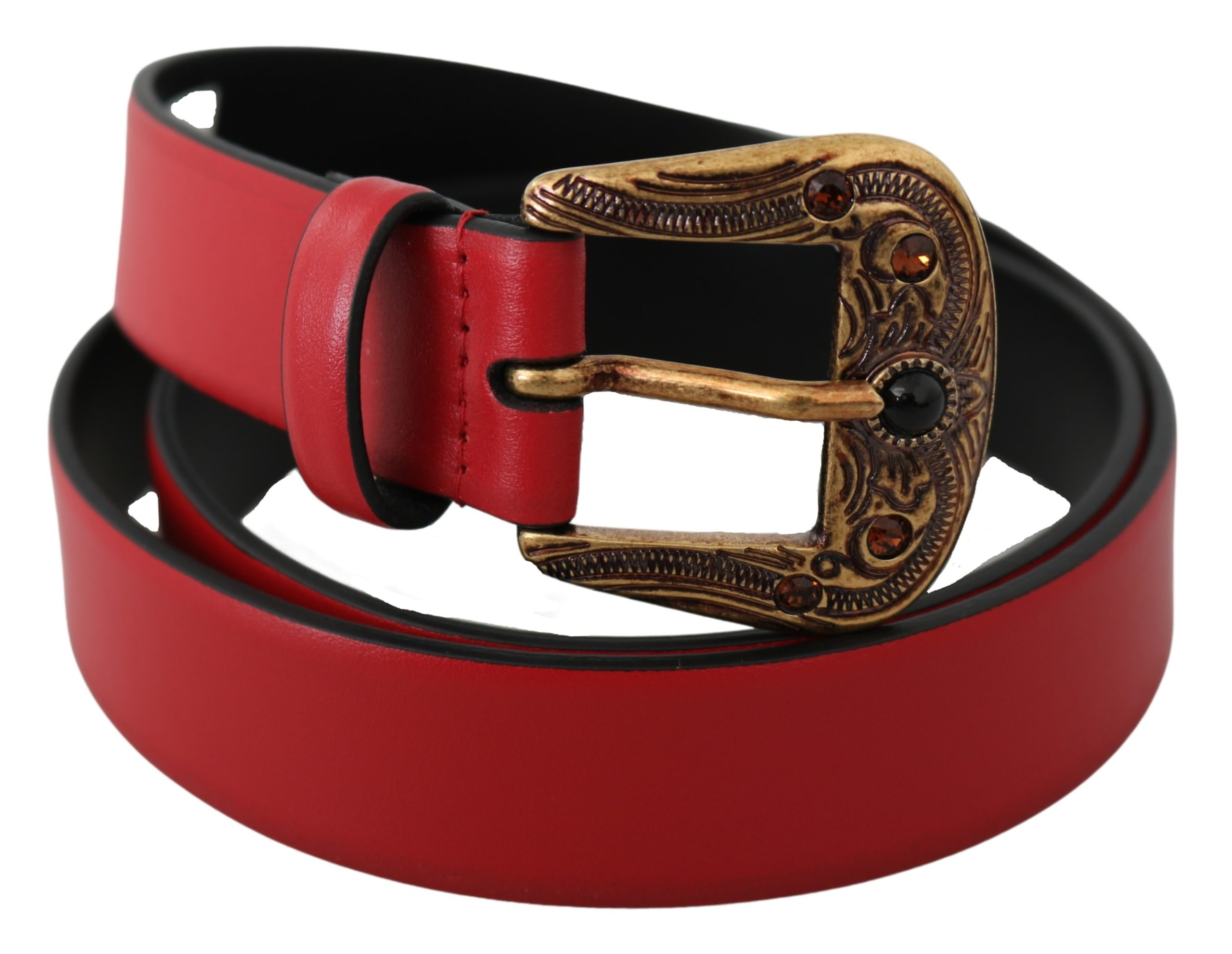 Dolce & Gabbana Women's Pearl Buckle Leather Belt Red BEL60768 - 90 cm / 36 Inches