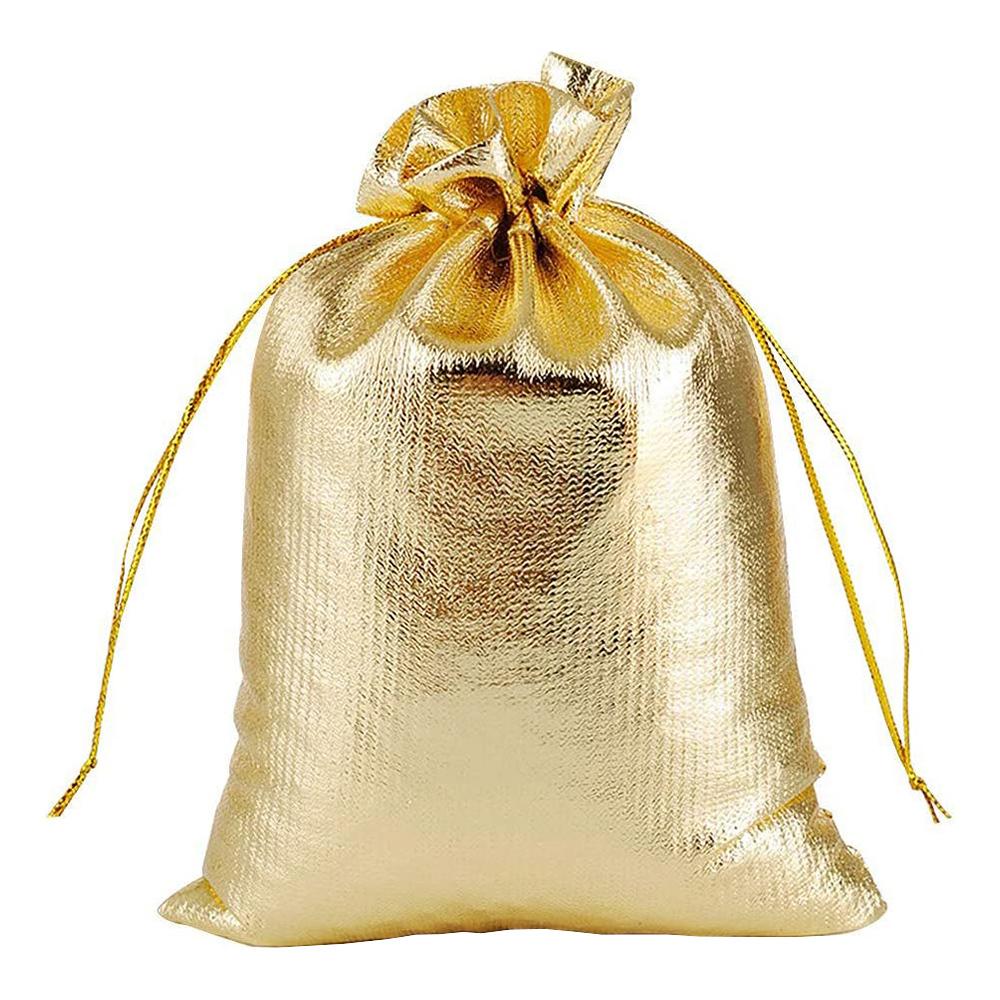 Minipåsar med Snöre Guld - 50-pack