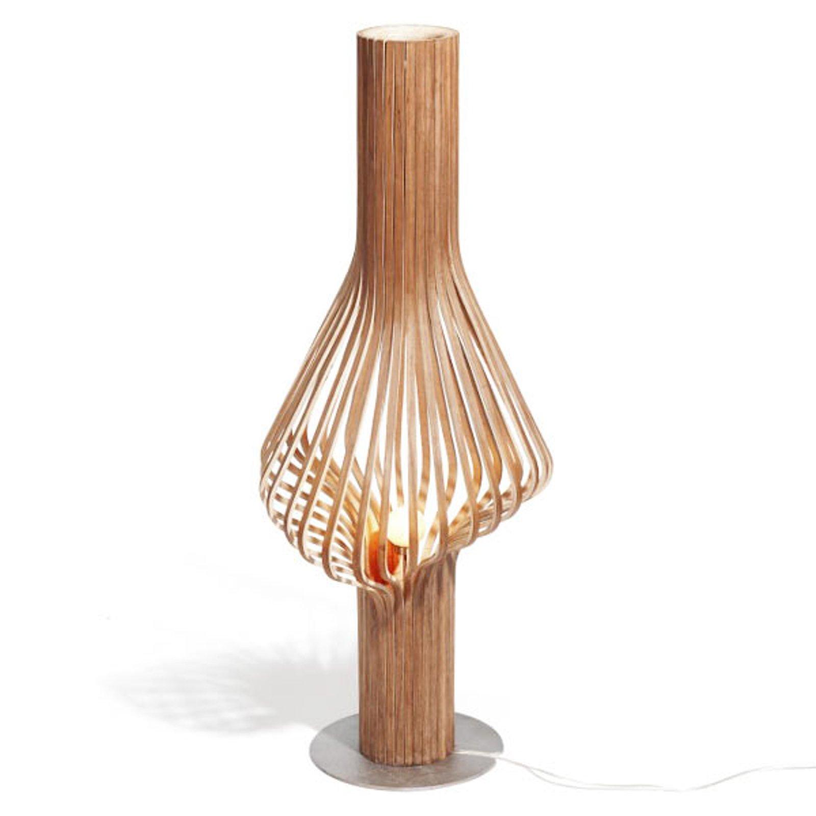 Designer-gulvlampe Diva med eik og dimmer
