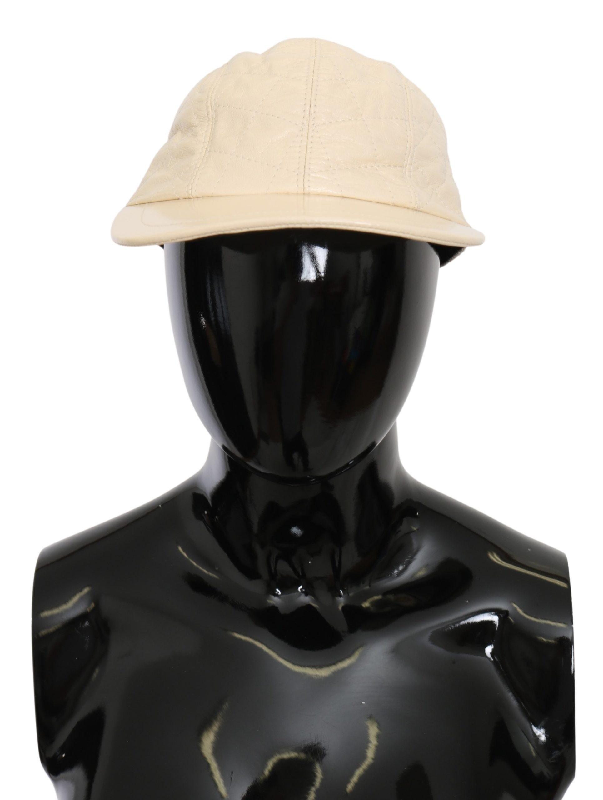 Dolce & Gabbana Men's Lamb Skin Leather Baseball Hat White HAT9098 - 57 cm|S
