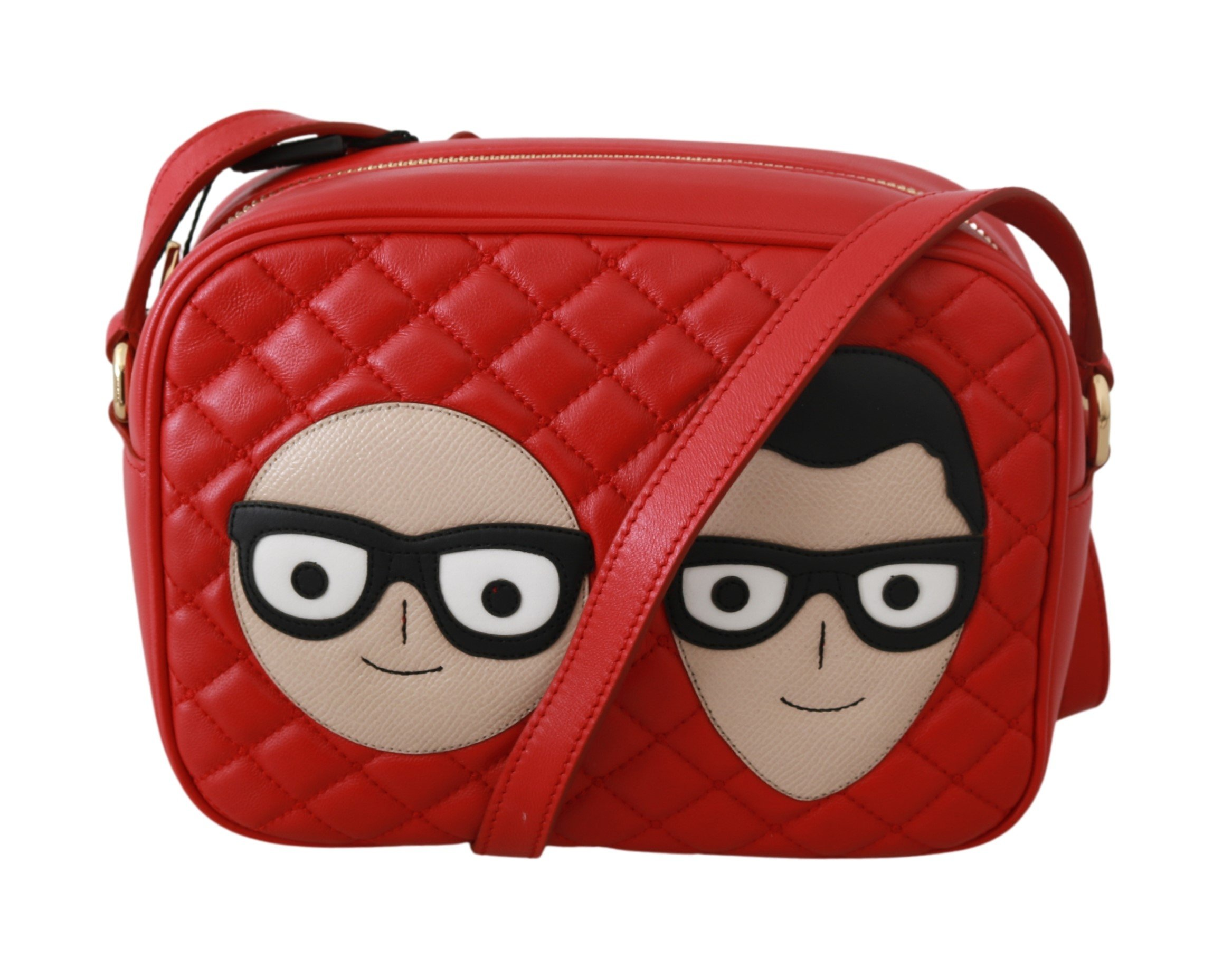 Dolce & Gabbana Women's Patch GLAM Leather Crossbody Bag Red VAS9213