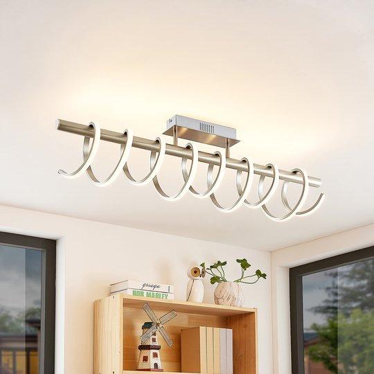 Lucande Milora -LED-kattovalaisin 100 cm, nikkeli