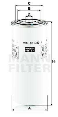 Polttoainesuodatin MANN-FILTER WDK 962/20