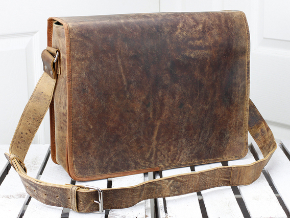 Leather Messenger Bag Medium 15 Inch Brown 15 Inch