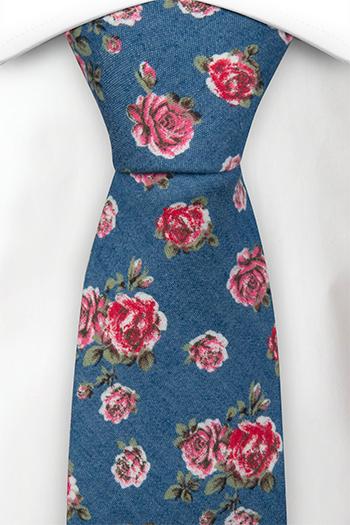 Bomull Slips, Denimblått med røde og rosa roser, Blå, Blomster