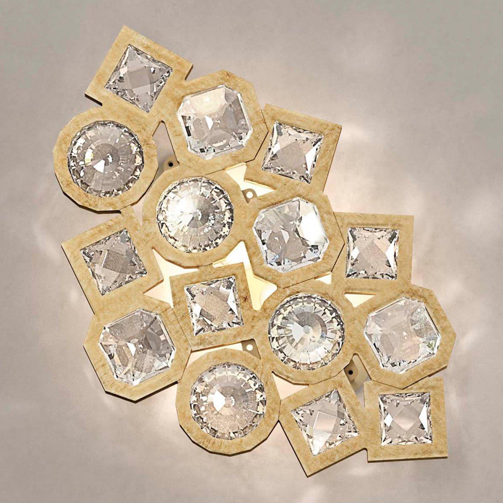 Gyllen LED-vegglampe Stardust i krystall