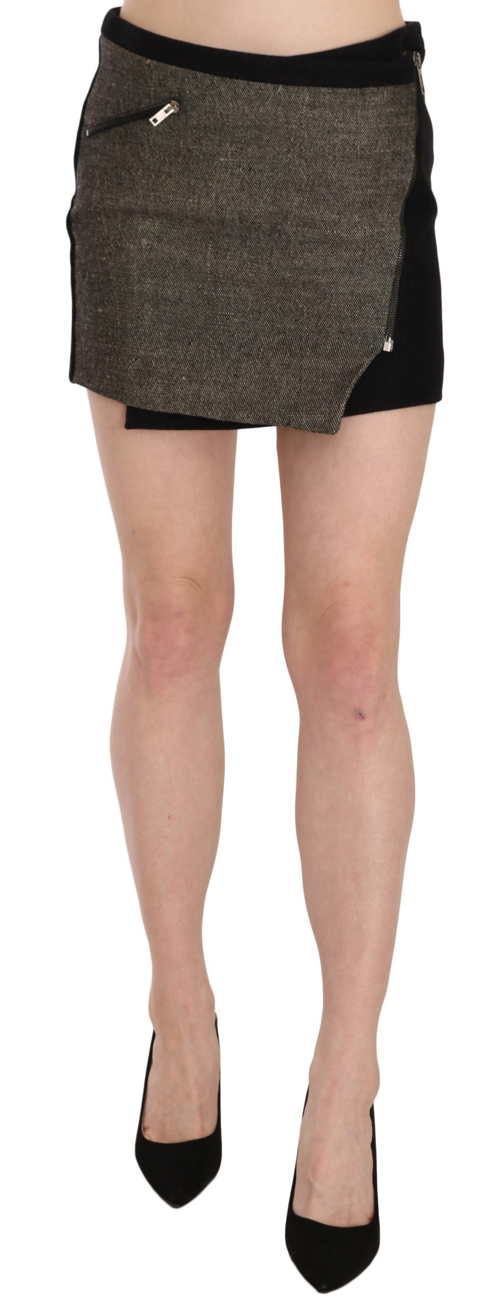 Costume National Women's Wrap Around Mini Skirt Black TSH3953 - IT44|L