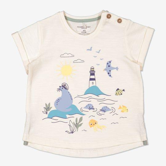 T-skjorte med trykk baby hvit
