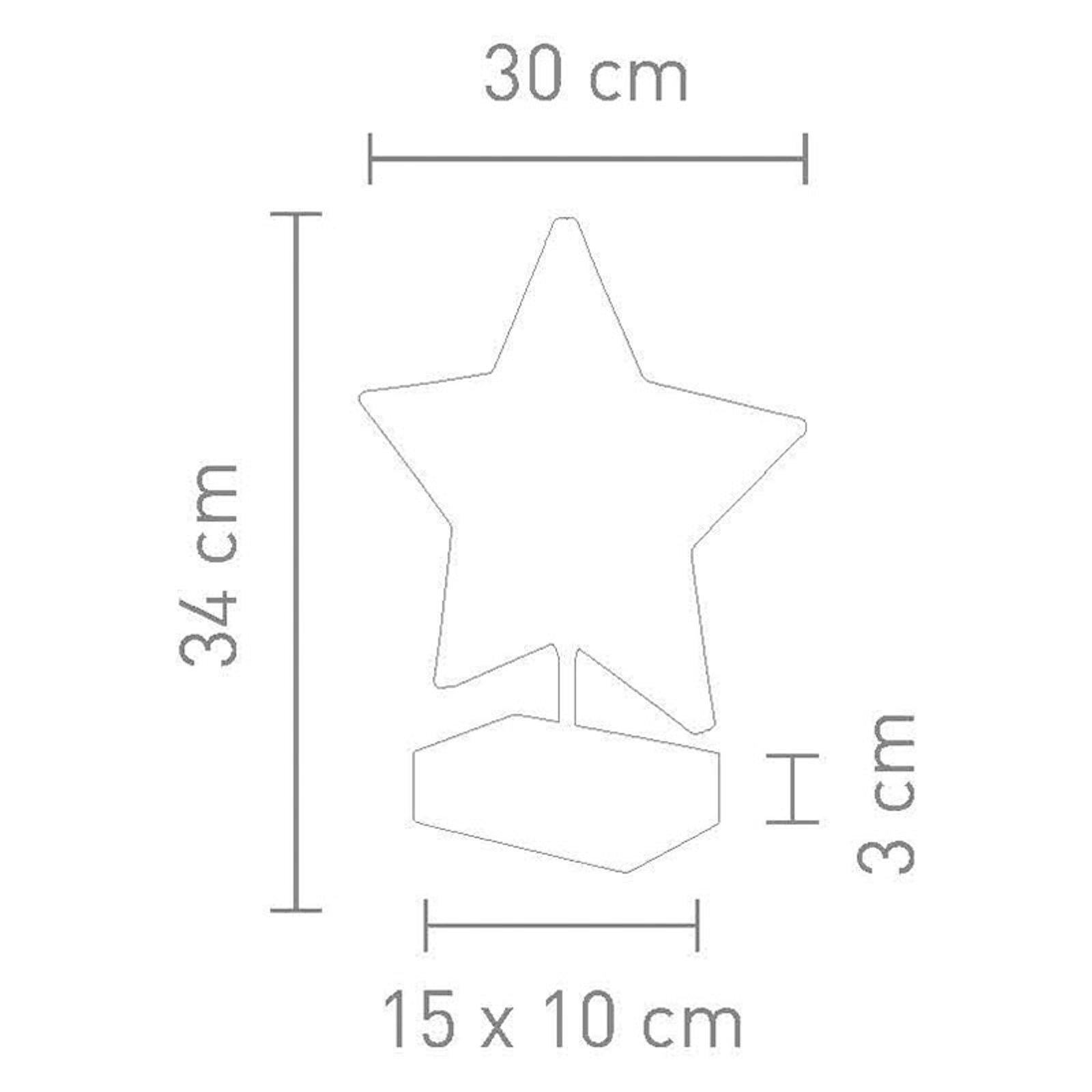 Bordlampe Stella i stjerneform, høyde 34 cm, rød