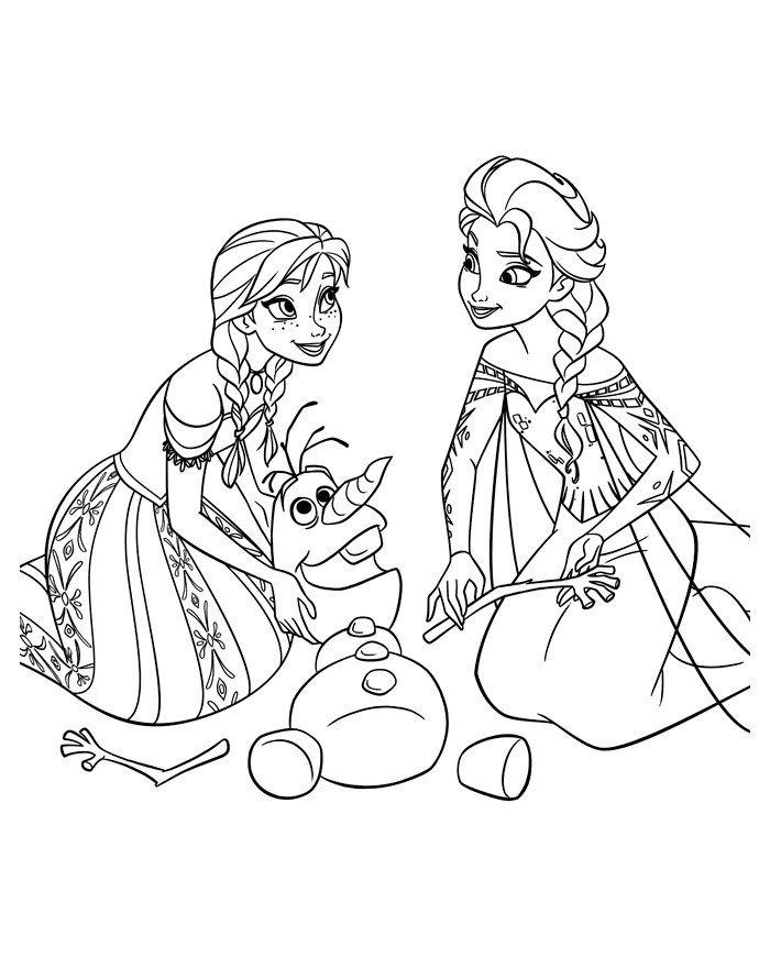 Раскраска Анна и Эльза лепят снеговика - распечатать ...