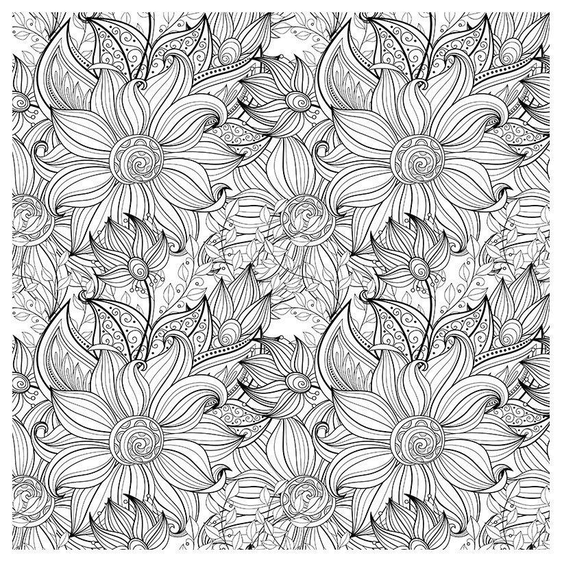 Раскраска Антистресс Простые цветы - распечатать бесплатно ...