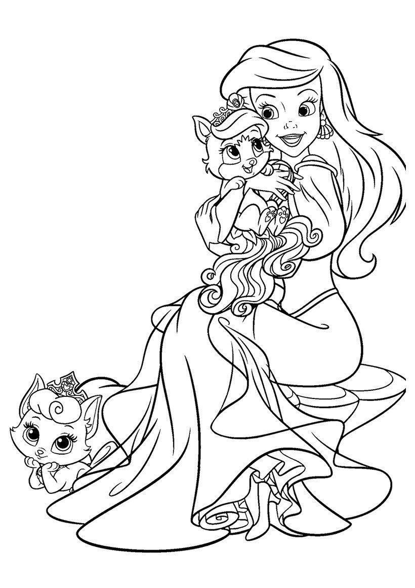 Раскраска Ариэль со своими питомцами