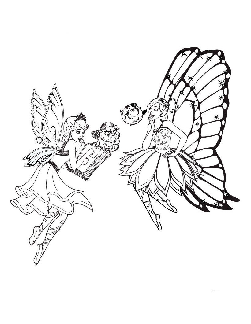 Раскраска Барби феи с питомцами