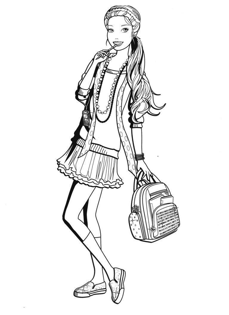 Раскраска Барби идёт в школу
