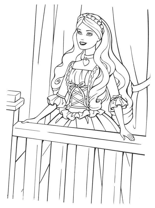 Раскраска Барби на балконе ждёт Кена