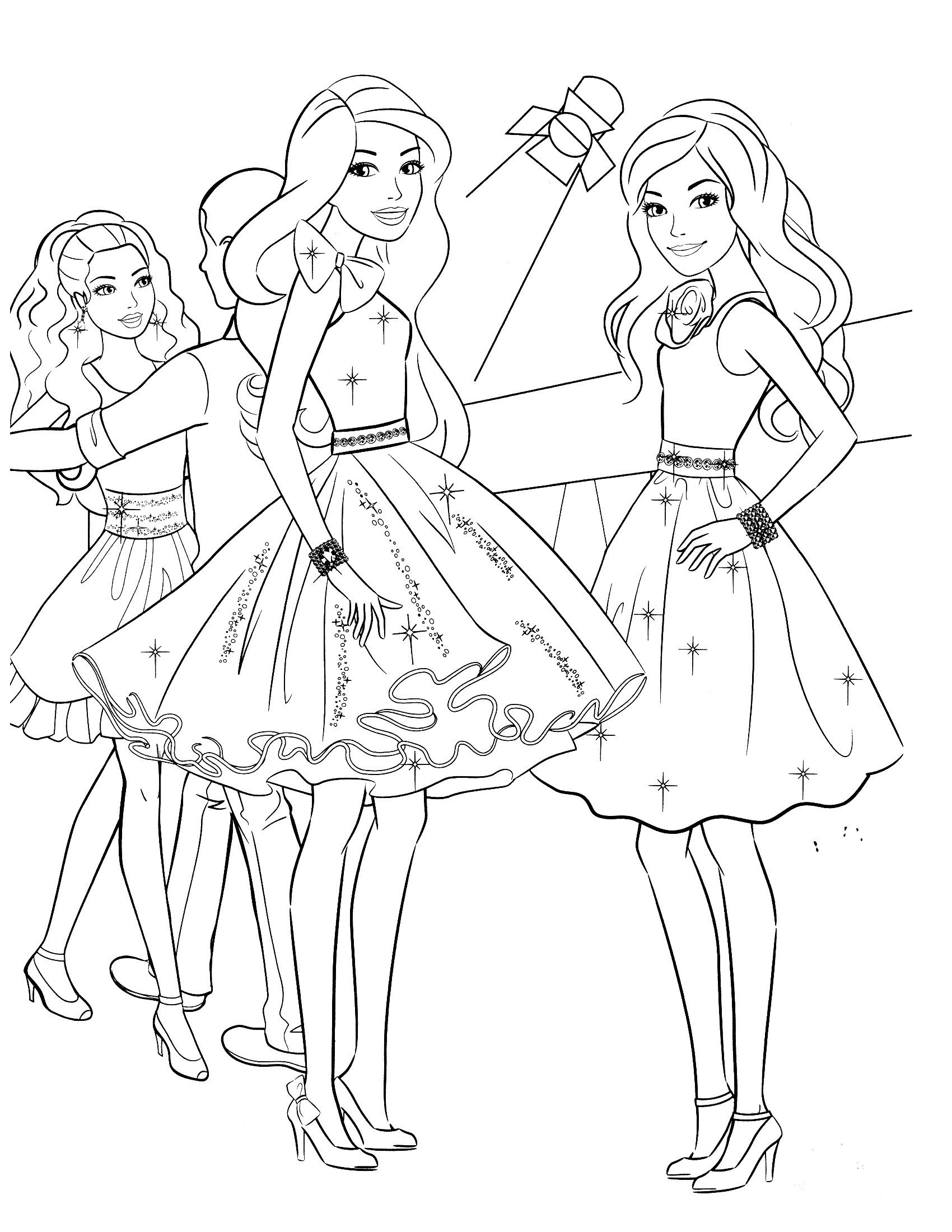 Раскраска Барби на вечеринке