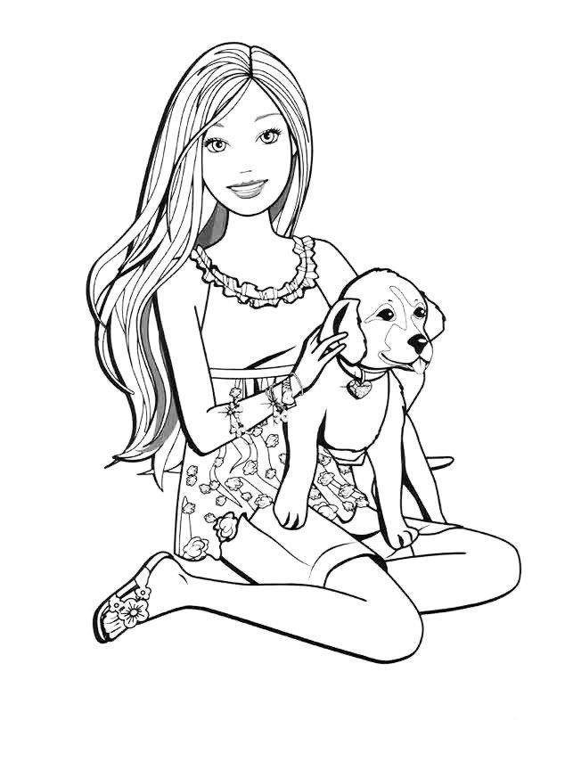 Раскраска Барби подарили собаку