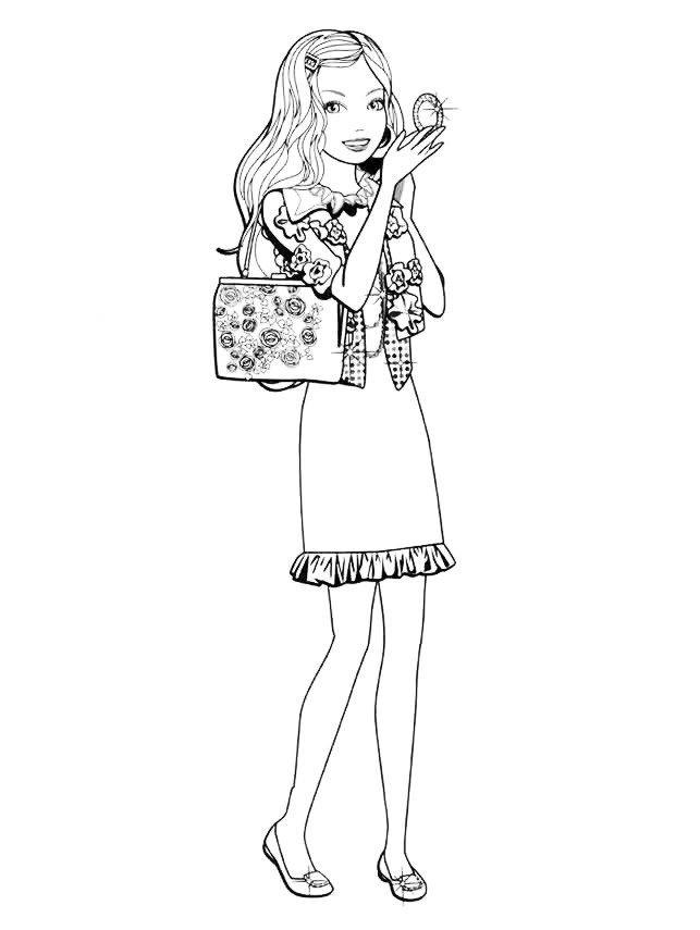 Раскраска Барби поправляет прическу