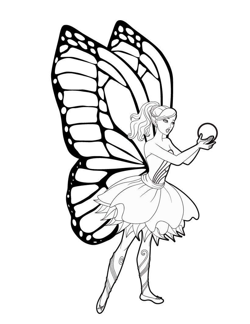 Раскраска Барби с фейскими крыльями
