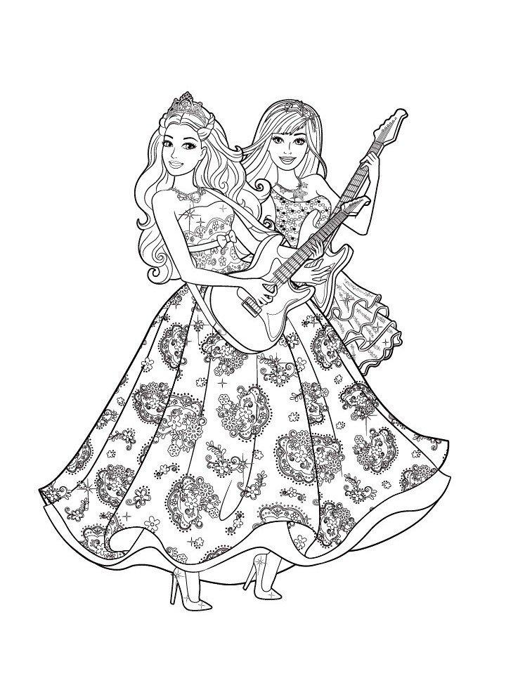 Раскраска Барби с гитарой