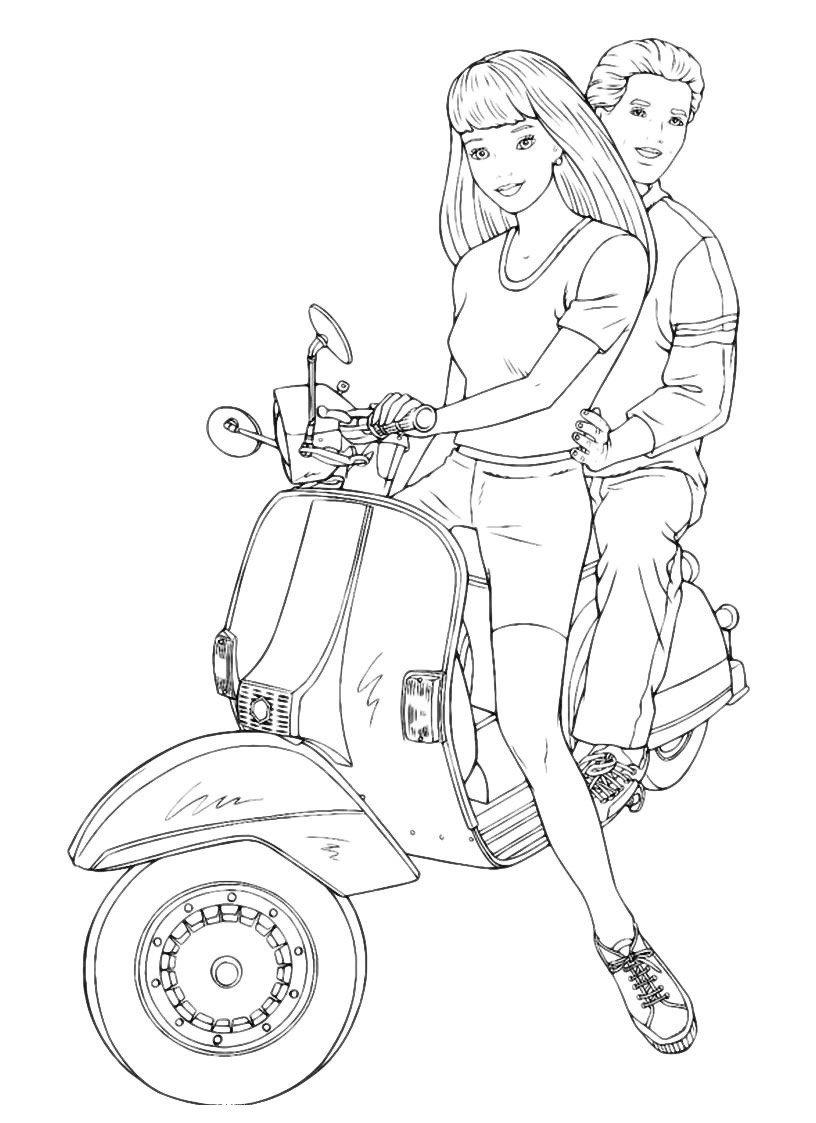 Раскраска Барби с Кеном на мотоцикле