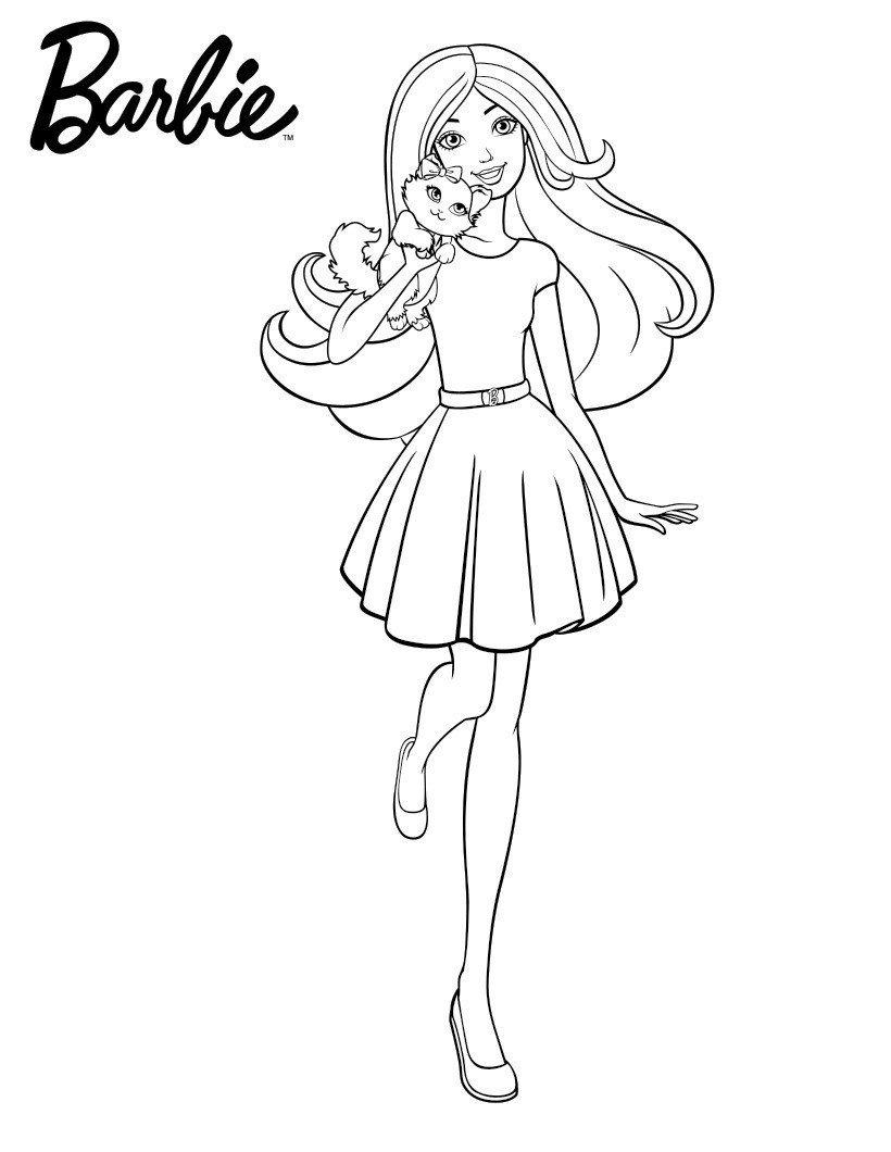 Раскраска Барби с любимчиком