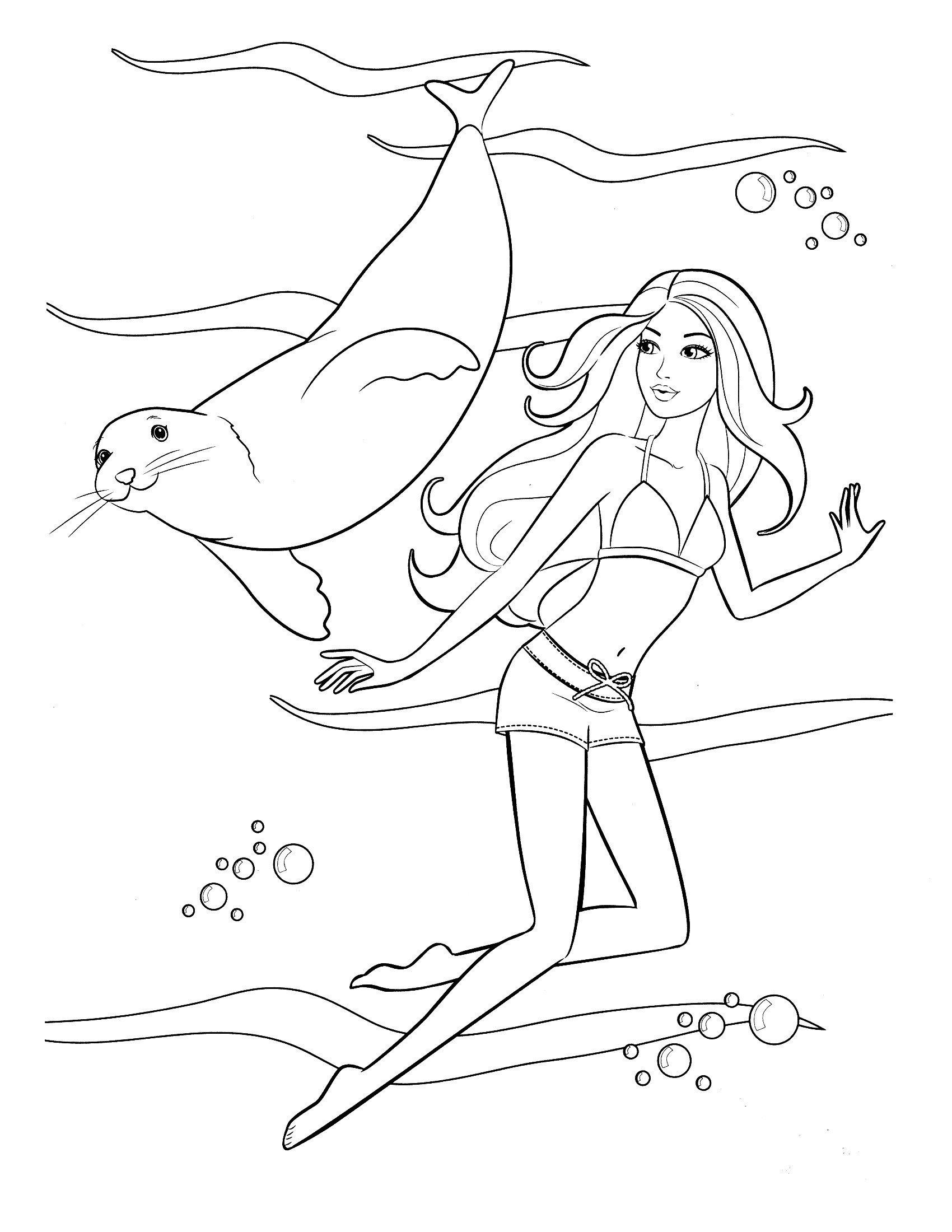 Раскраска Барби с морским котиком