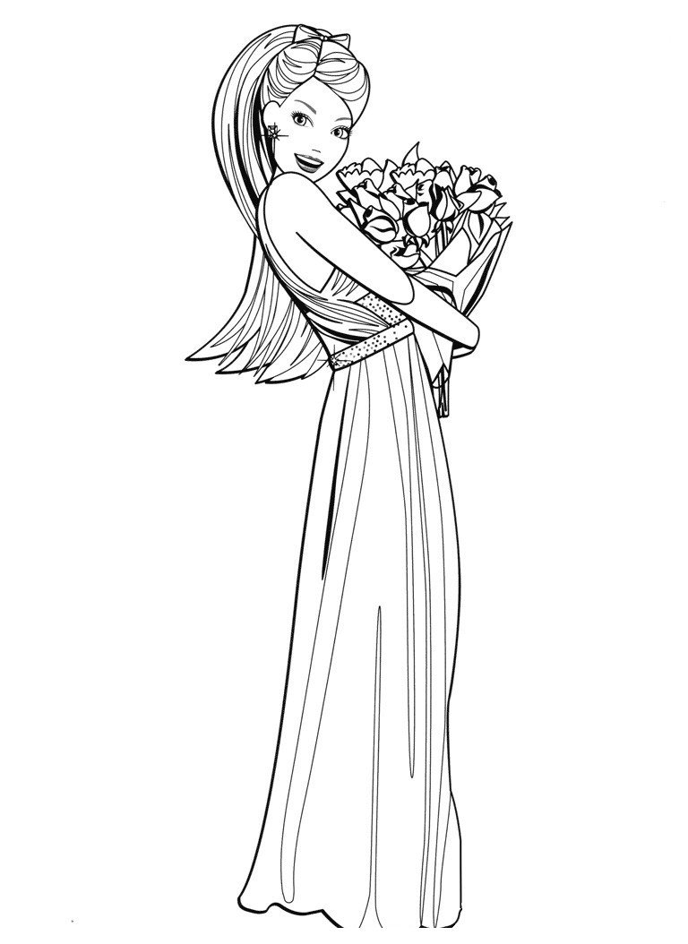 Раскраска Барби с охапкой цветов