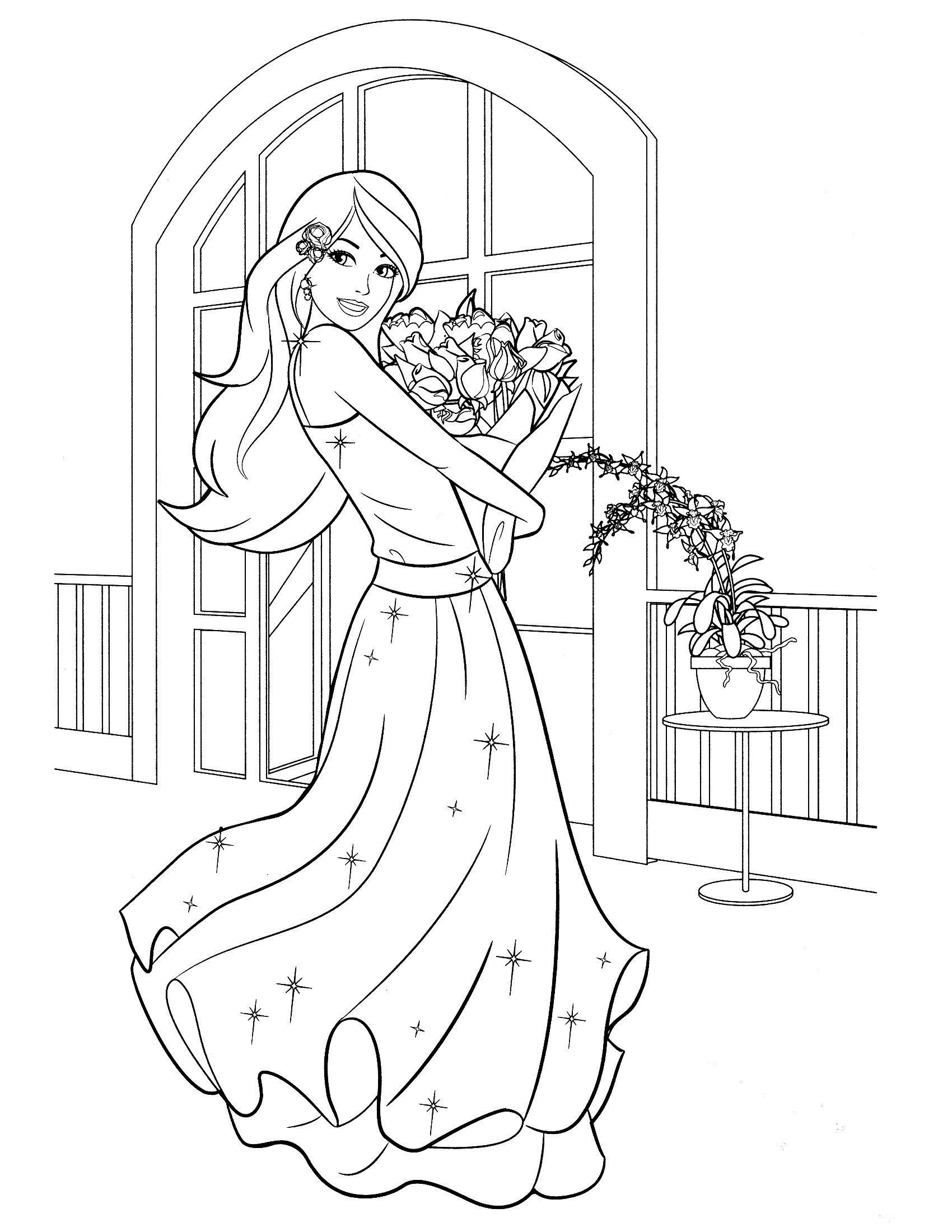 Раскраска Барби в бальном платье