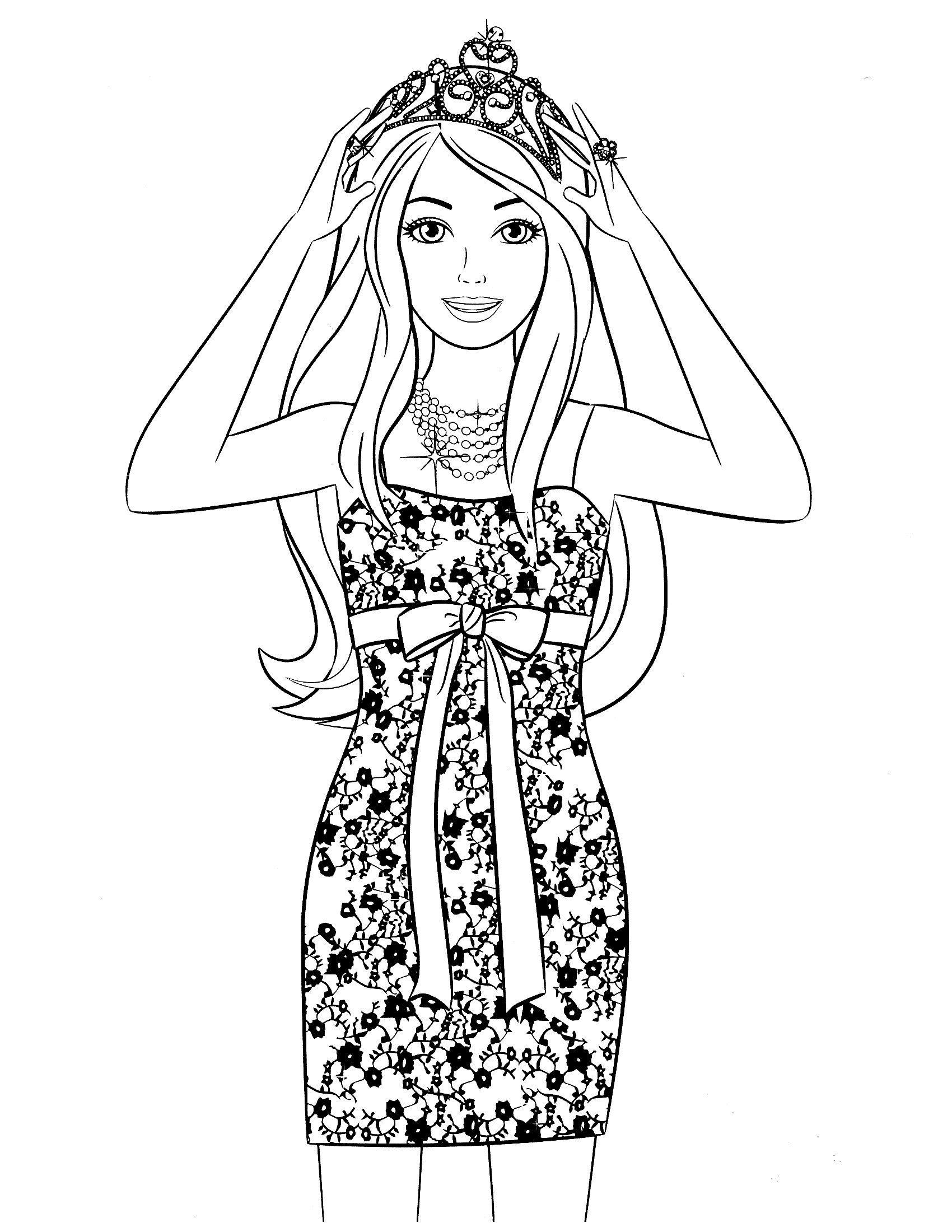 Раскраска Барби в стильном платье и короне - распечатать ...