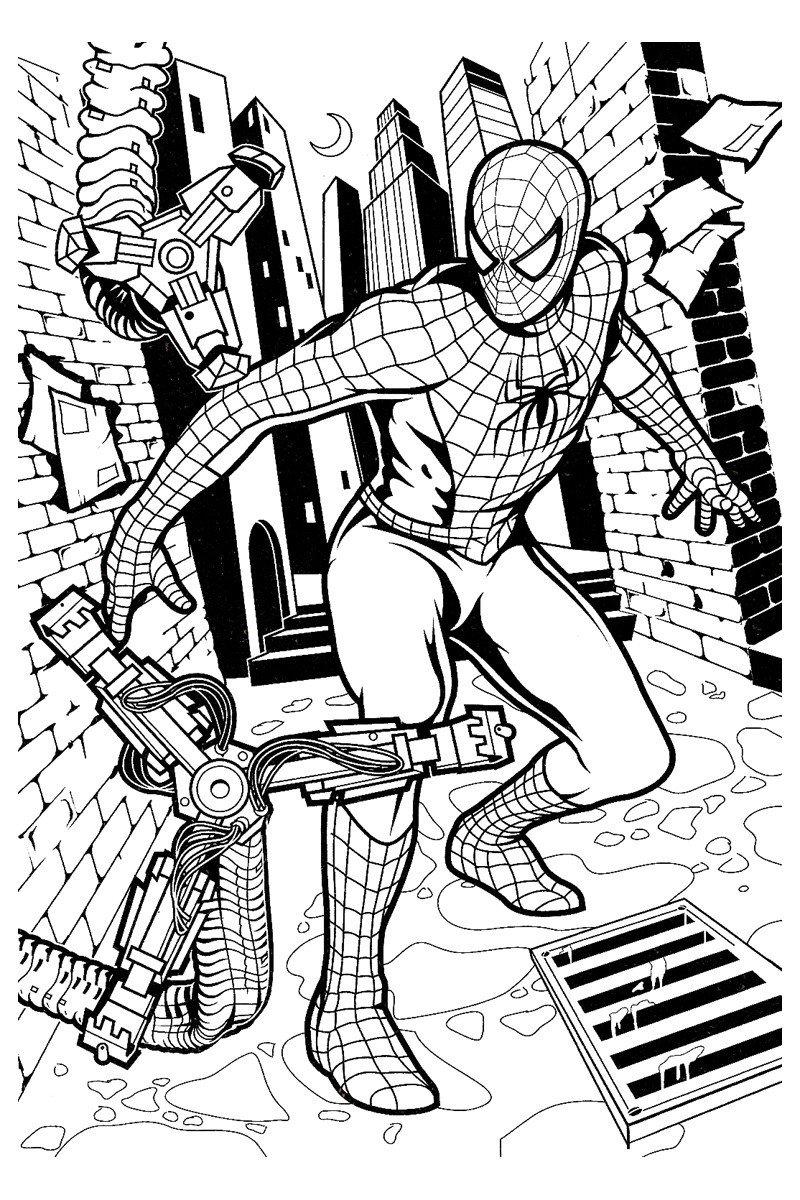 Раскраска Борьба Человека паука