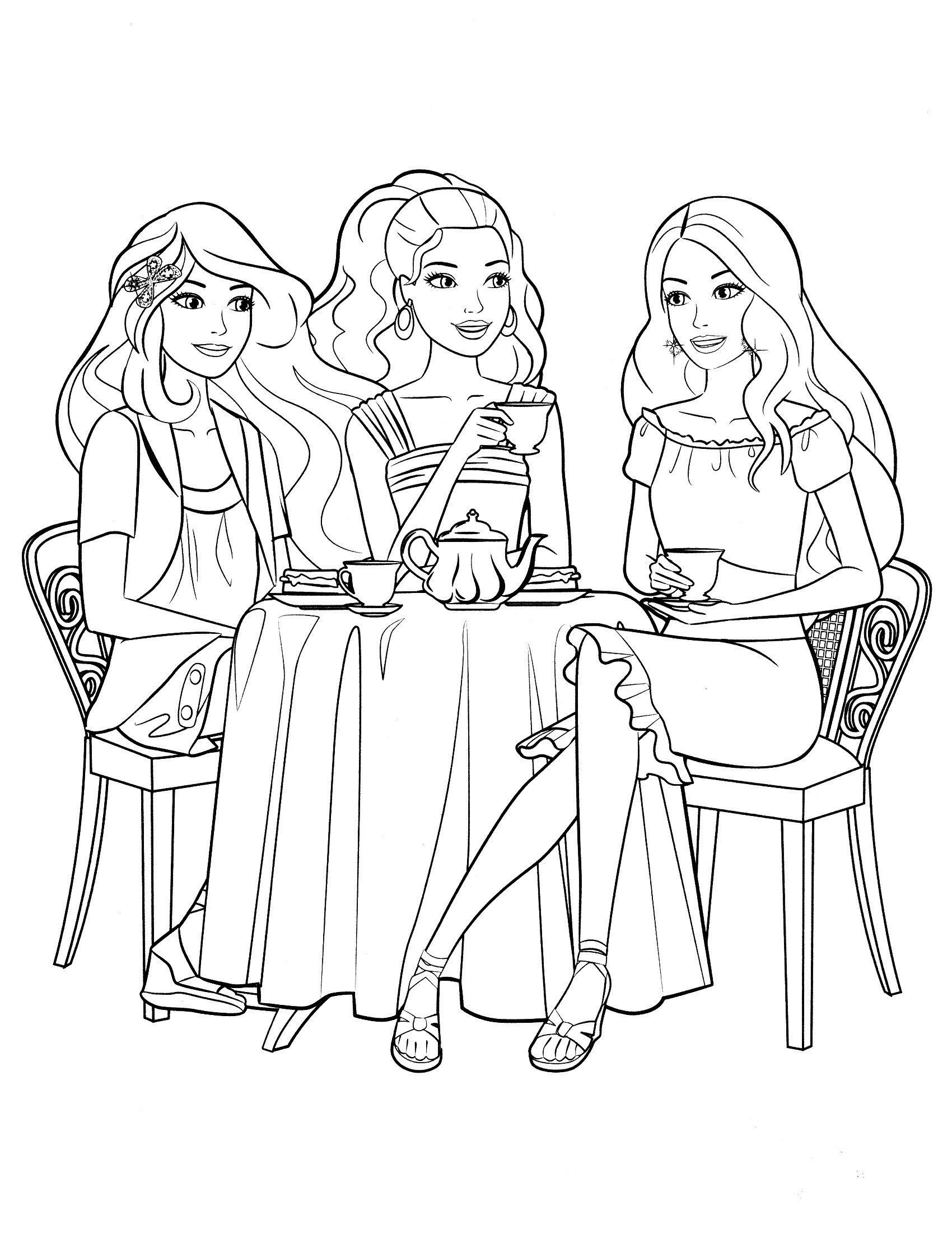 Раскраска Чаепитие с Барби