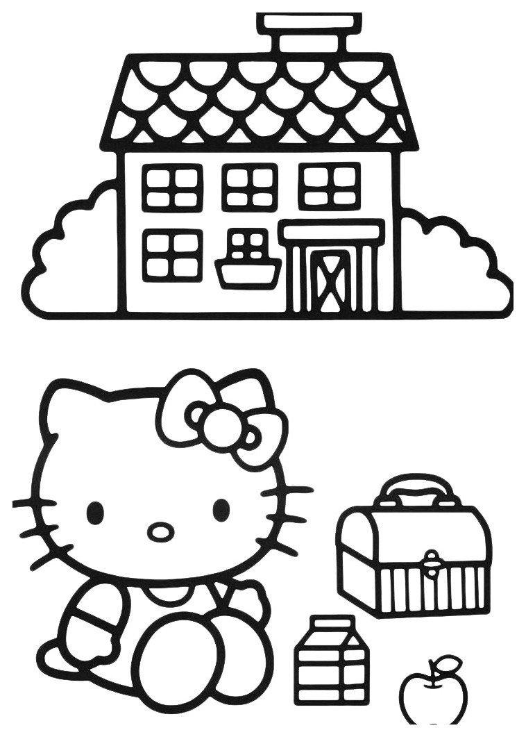 Раскраска Домик Hello Kitty