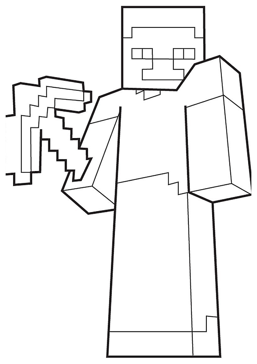 Раскраска Игрок с киркой