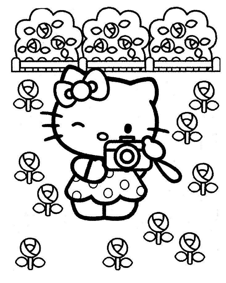 Раскраска Хелло Китти с фотоаппаратом