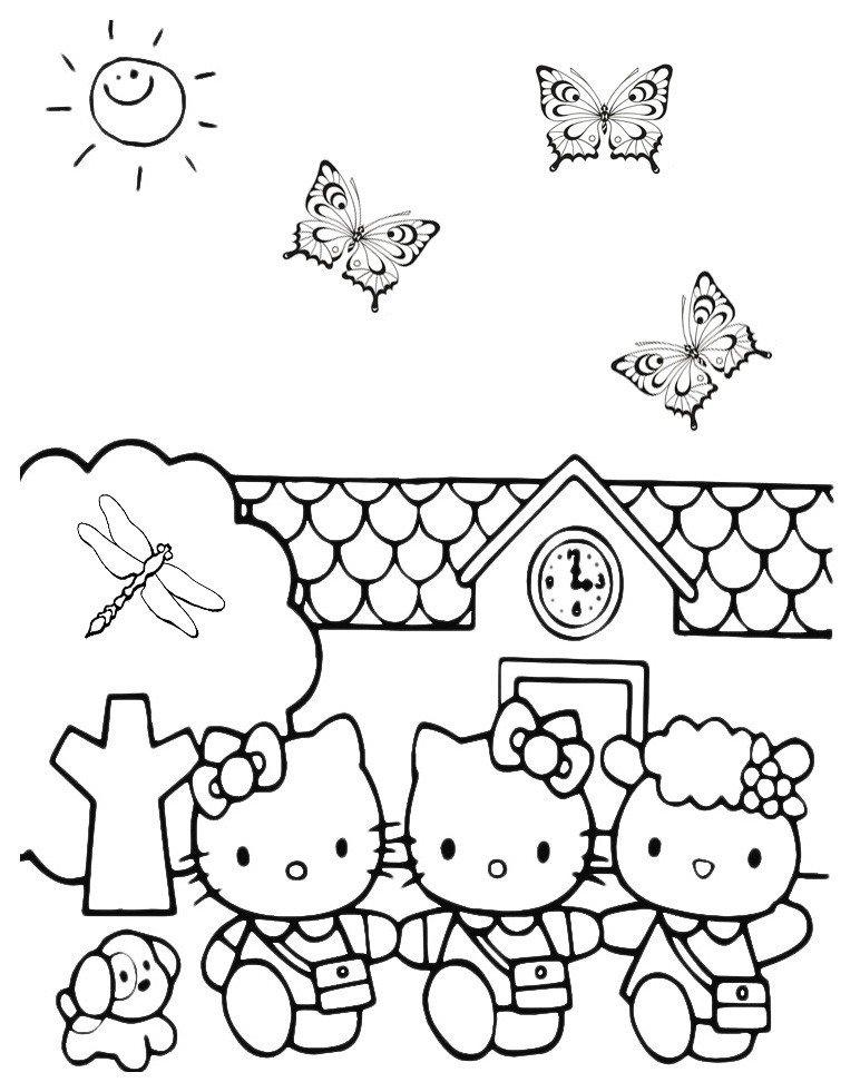 Раскраска Китти гуляет с подружками