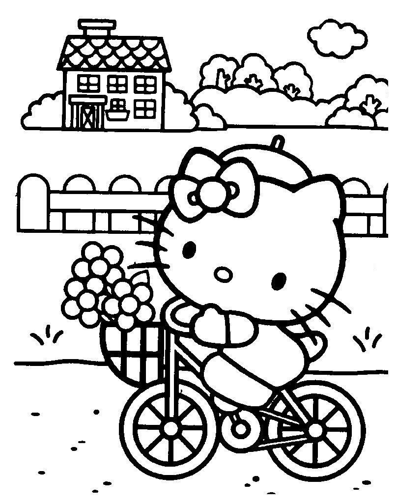 Раскраска Китти на велосипеде собралась в магазин