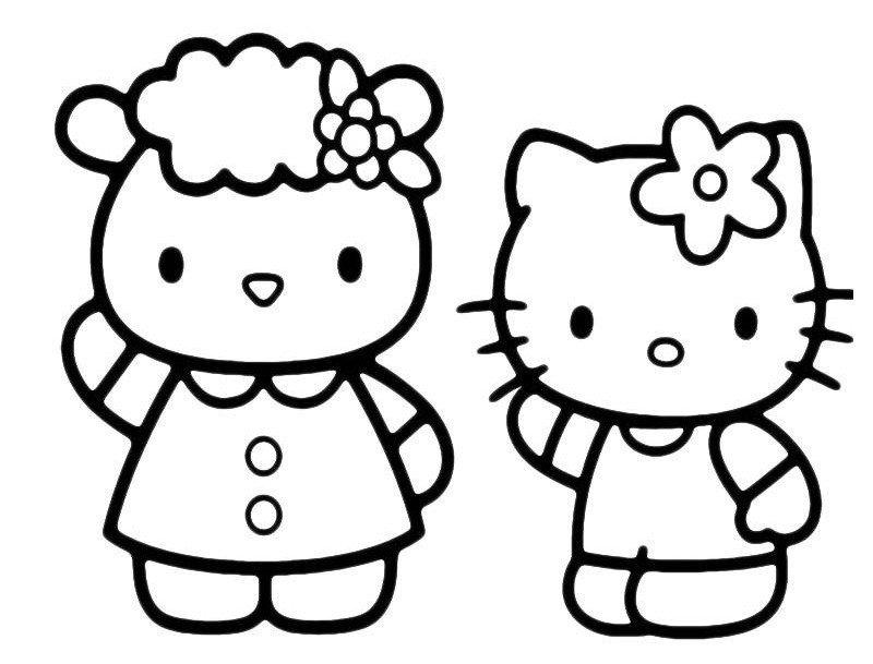 Раскраска Китти с мамой - распечатать бесплатно в формате А4