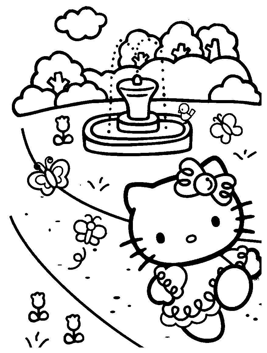 Раскраска Китти у фонтана